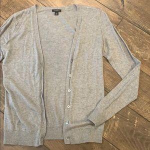 Ann Taylor Heathered Gray Cardigan Sweater
